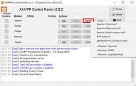ApacheのConfigボタンクリック